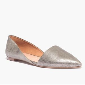 Madewell Lydia Leather Pointed Toe Metallic Flats